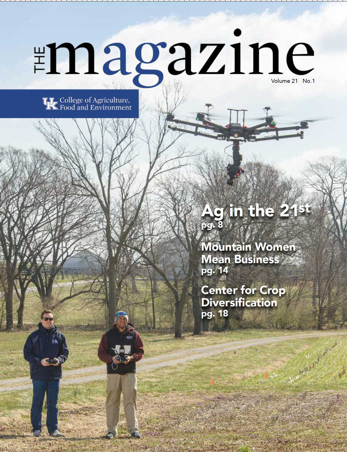 Spring 2019 Magazine Front Cover showing a Drone in flight
