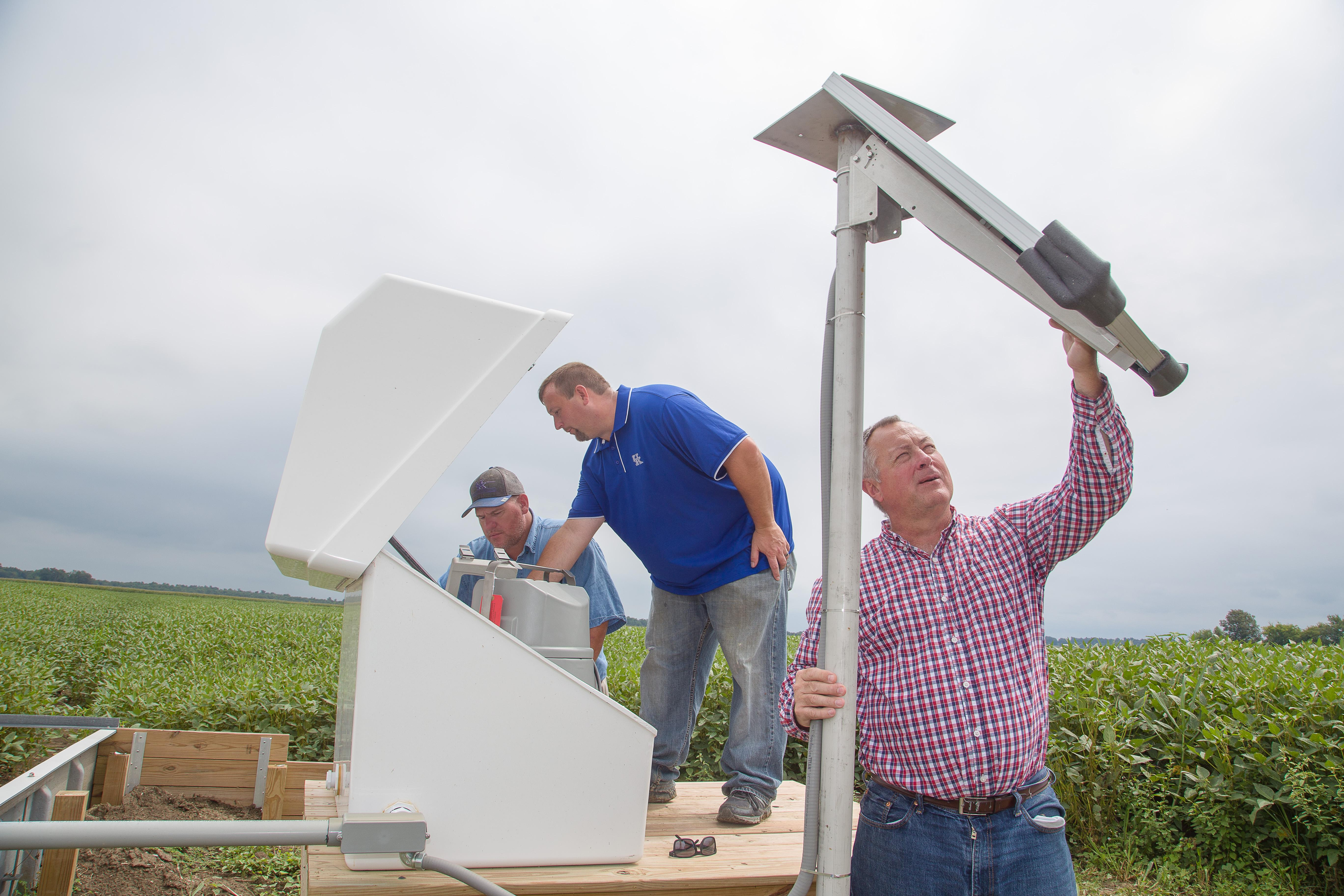 (L to R) Glynn Beck, Mark Akland, and Dwayne Edwards at one of several data collection stations in Daviess County