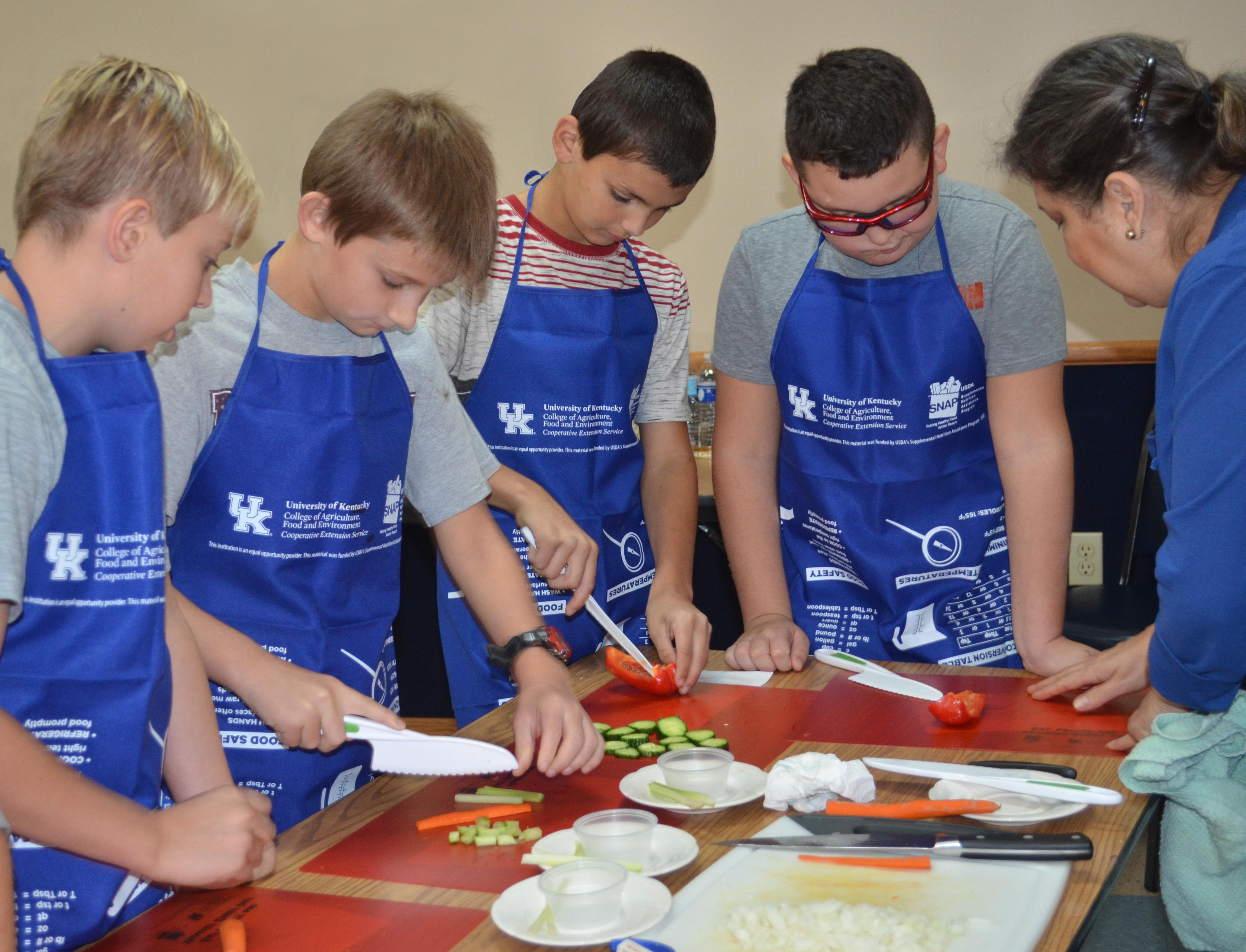 Owen County fifth-graders learn knife skills during the extension program, Recipes for Life.