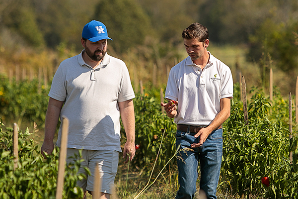 Bryan Brady and Robert Eversole walk the late summer fields at Crooked Row Farms.