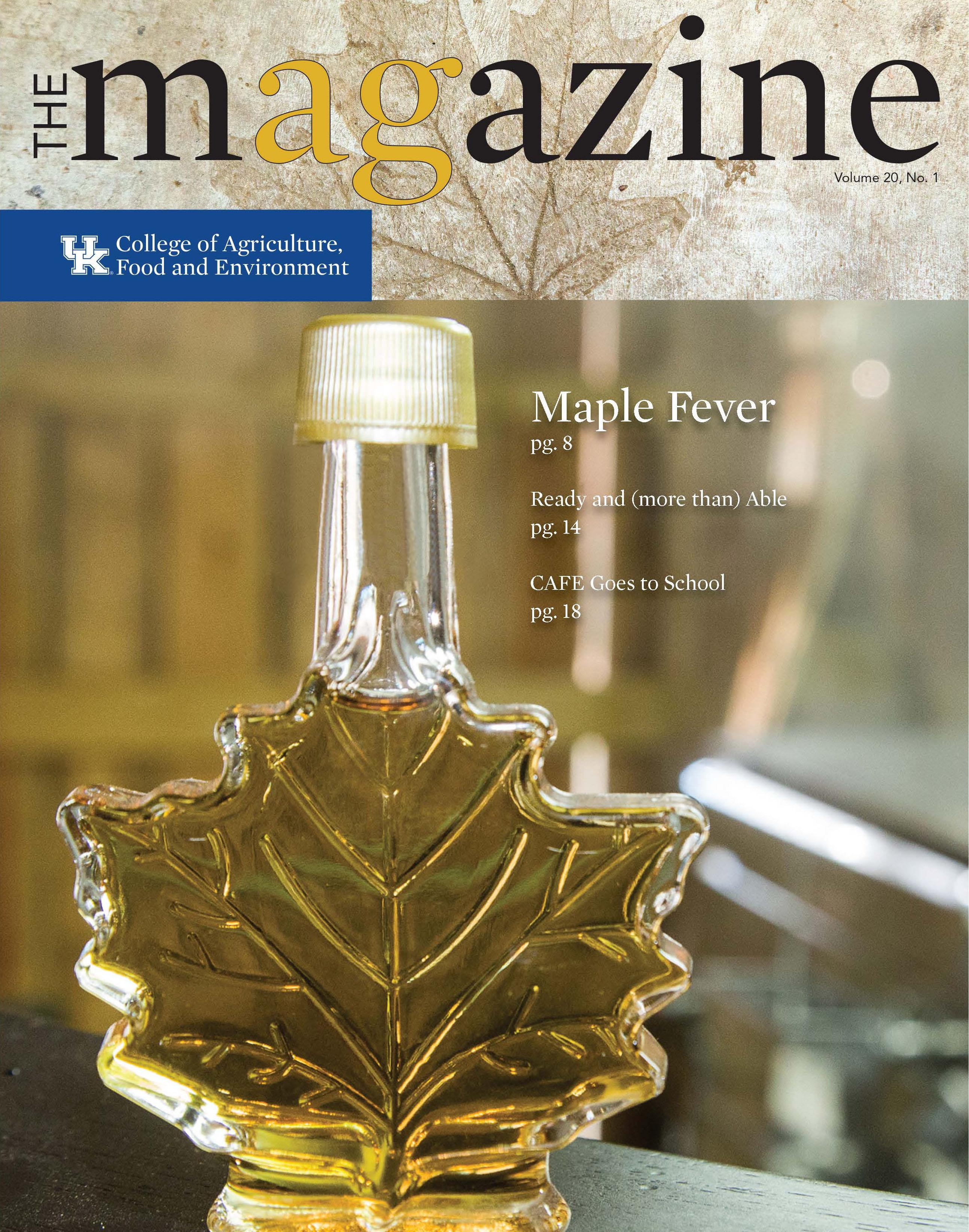 AgMagazine Spring 2018 Cover Image with Maple Syrup Bottle